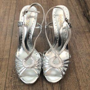 BCBG Paris Shoes - BCBG Paris Silver Strappy High Heel Formal Shoes